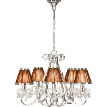 Oksana 5 light pendant - Nickel & chocolate shades