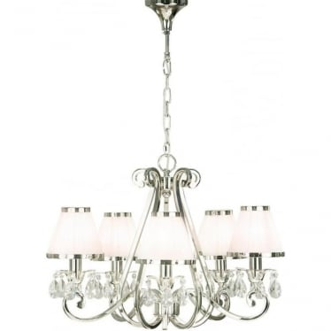 Oksana 5 light pendant - Nickel & white shades