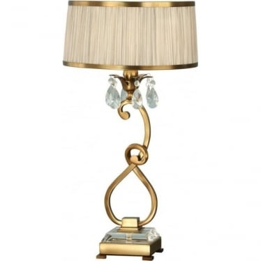 Oksana medium table lamp - Antique brass & beige shade