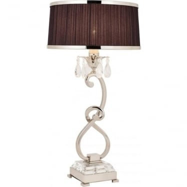 Oksana medium table lamp - Nickel & black shade