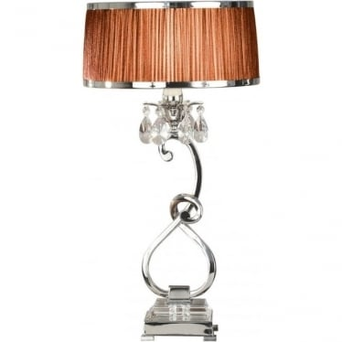 Oksana medium table lamp - Nickel & chocolate shade