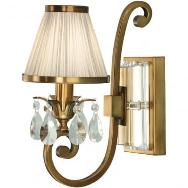 Oksana single light wall fitting - Antique brass & beige shade
