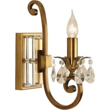Oksana single light wall fitting - Antique brass
