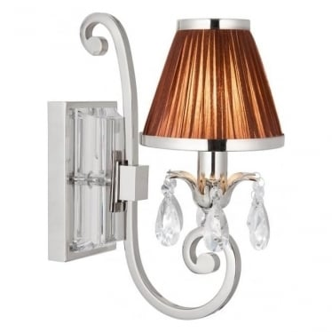 Oksana single light wall fitting - Nickel & chocolate shade