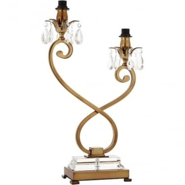 Oksana Twin light table lamp - Antique brass - Base only