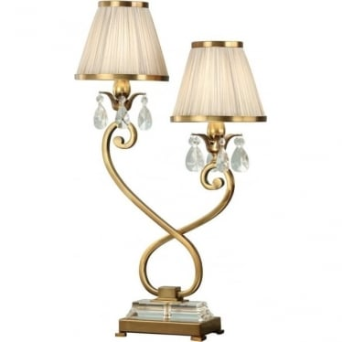 Oksana Twin light table lamp - Antique brass & beige shades