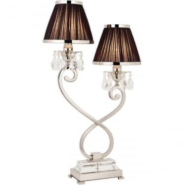Oksana twin light table lamp - Nickel & black shades