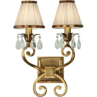 Oksana Twin light wall fitting - Antique brass & beige shades
