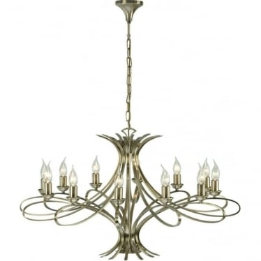 Penn 12 light pendant - Brushed brass