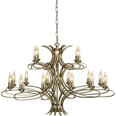 Penn 18 light pendant - Brushed brass