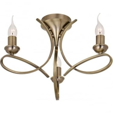 Penn 3 light Semi Flush ceiling fitting - Brushed brass