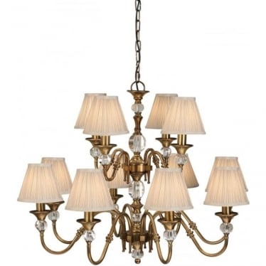 Polina 12 light pendant - Antique brass & beige shades