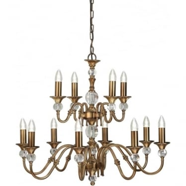 Polina 12 light pendant - Antique brass