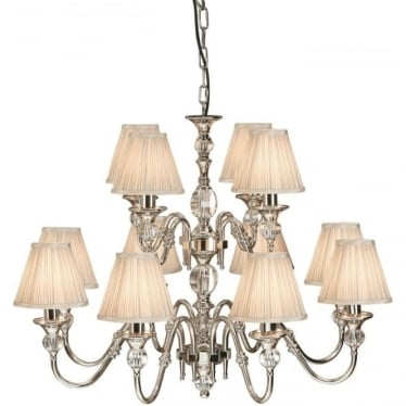 Polina 12 light pendant - Polished nickel & beige shades