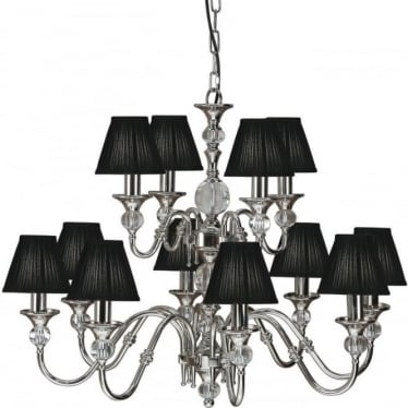 Polina 12 light pendant - Polished nickel & black shades