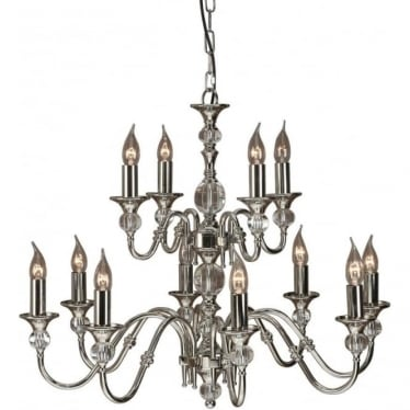 Polina 12 light pendant - Polished nickel