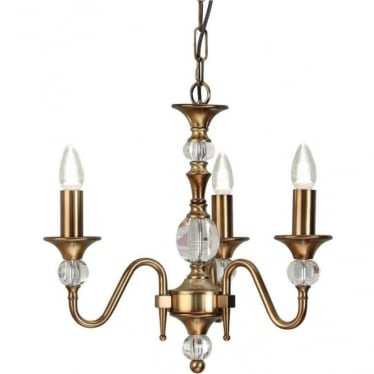 Polina 3 light pendant - Antique brass