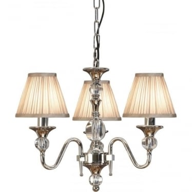 Polina 3 light pendant - Polished nickel & beige shades