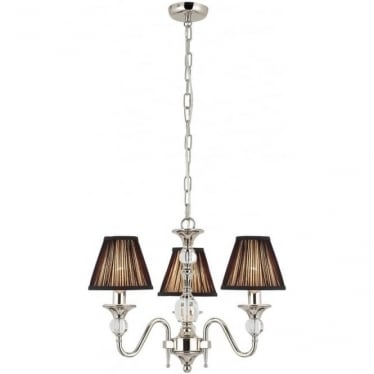 Polina 3 light pendant - Polished nickel & black shades