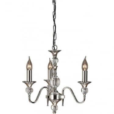Polina 3 light pendant - Polished nickel