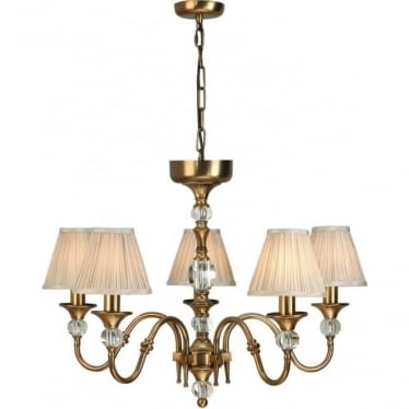 Polina 5 light pendant - Antique brass & beige shades
