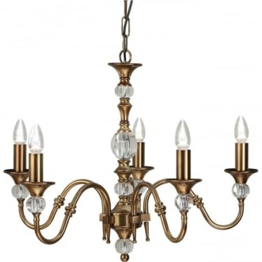 Polina 5 light pendant - Antique brass