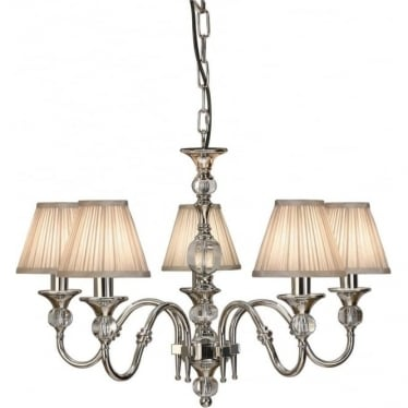 Polina 5 light pendant - Polished nickel & beige shades