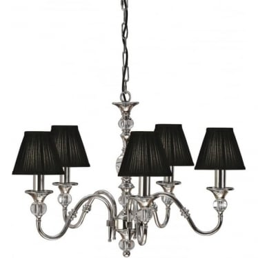 Polina 5 light pendant - Polished nickel & black shades