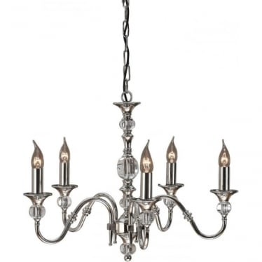 Polina 5 light pendant - Polished nickel