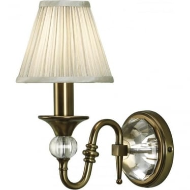 Polina single wall light fitting - Antique brass & beige shade