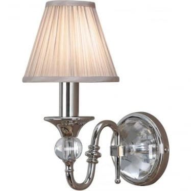 Polina single wall light fitting - Polished nickel & beige shade