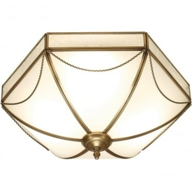 Russell 3 light flush fitting - Antique brass & frosted glass