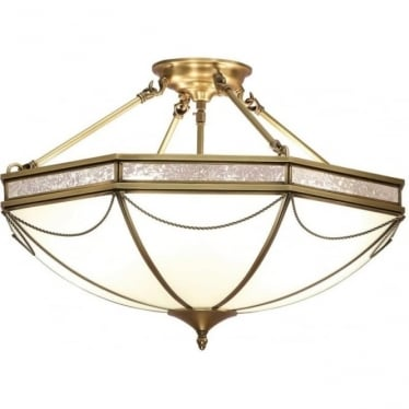 Russell 3 light semi flush fitting - Antique brass & frosted glass
