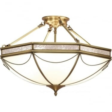 Russell 8 light semi flush fitting - Antique brass & frosted glass