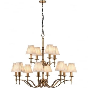 Stanford 12 light pendant - antique brass & beige shades