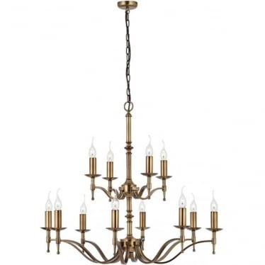 Stanford 12 light pendant - antique brass