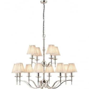 Stanford 12 light pendant - Nickel & beige shades
