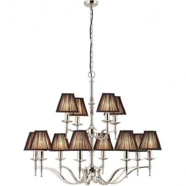 Stanford 12 light pendant - Nickel & black shades