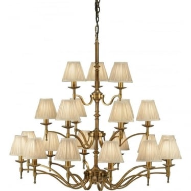 Stanford 21 light pendant - antique brass & beige shades