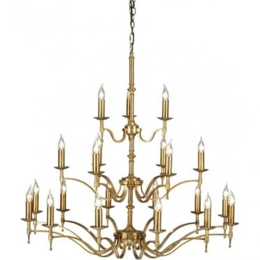 Stanford 21 light pendant - antique brass