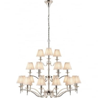 Stanford 21 light pendant - Nickel & beige shades