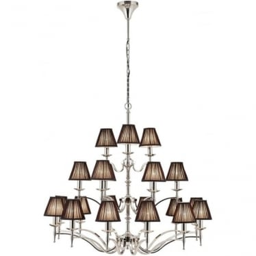 Stanford 21 light pendant - Nickel & black shades