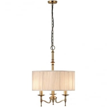 Stanford 3 light pendant - antique brass & beige shade