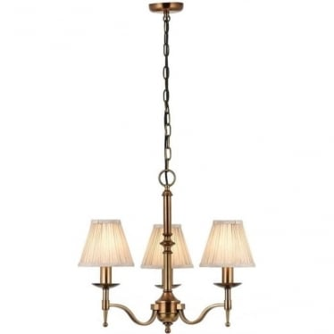 Stanford 3 light pendant - antique brass & beige shades
