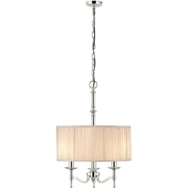 Stanford 3 light pendant - Nickel & beige shade