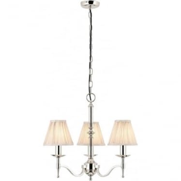 Stanford 3 light pendant - Nickel & beige shades