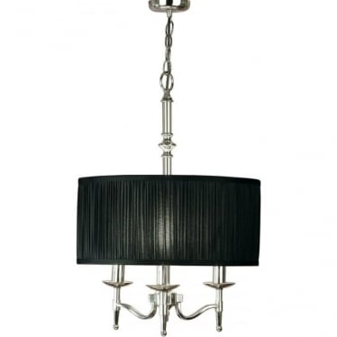 Stanford 3 light pendant - Nickel & black shade