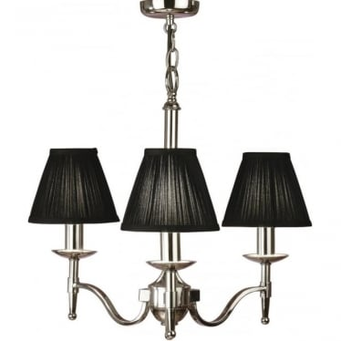 Stanford 3 light pendant - Nickel & black shades