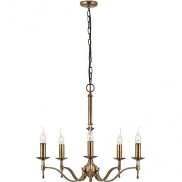Stanford 5 light pendant - antique brass