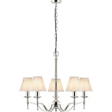 Stanford 5 light pendant - Nickel & beige shades